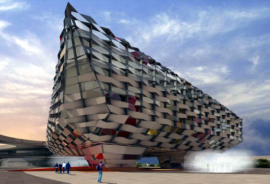 Imagen 3D exterior del futuro Pabellón de Aragón
