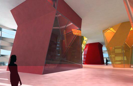 Imagen 3D del interior donde se aprecia la estructura de columnas