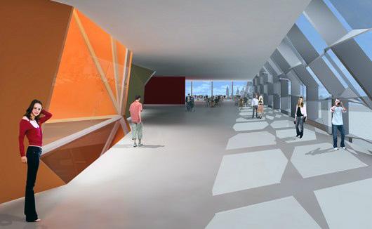 Imagen 3D del interior del edificio donde se aprecian los efectos