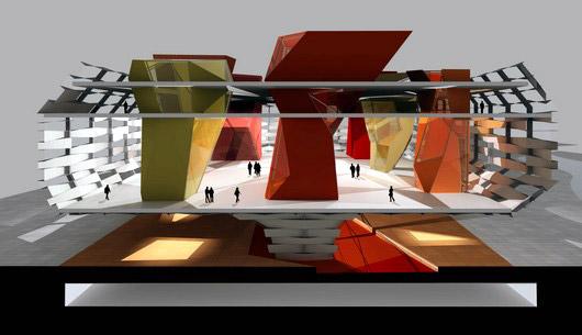 Imagen 3D interior donde se aprecian las columnas