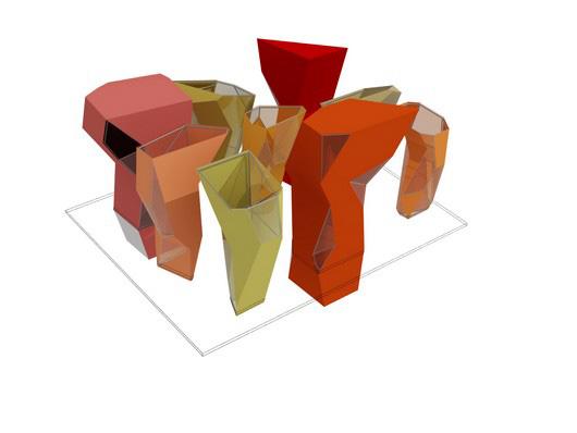 Imagen 3D con sólo el esqueleto de las columnas