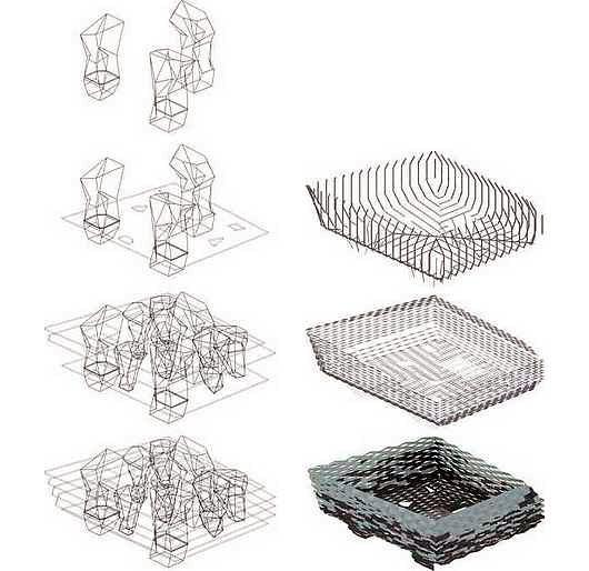 Croquis 3D de la estructura interior de columnas