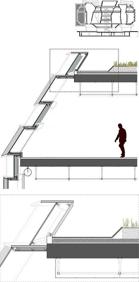 Sección vertical de la estructura de patios